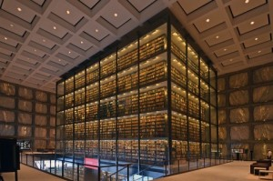 Interior view of the Beinecke Rare Book & Manuscript Library.